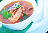image of gai  - tom yam soup in the white bowl - JPG
