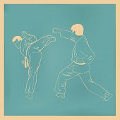 stock photo of karate  - Two men are engaged karate an illustration - JPG