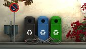 picture of recycle bin  - 3d illustration of a street with recycling bins - JPG