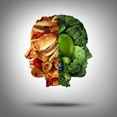 stock photo of food  - Food concept and diet decision symbol or nutrition choice dilemma between healthy good fresh fruit and vegetables or greasy cholesterol rich fast food as a human head with two conflicting sides trying to decide what to eat - JPG