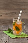picture of cantaloupe  - Closeup of refreshing cantaloupe melons cocktail - JPG