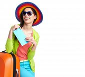 pic of boarding pass  - portrait of female tourist with travel suitcase and boarding pass - JPG
