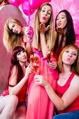 picture of bachelor party  - Beautiful women dancing in discotheque having fun - JPG