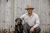 pic of farmer  - The Farmer and his Best Friend the Dog - JPG