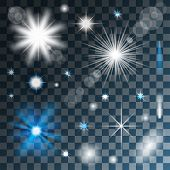 stock photo of xmas star  - Glowing stars - JPG