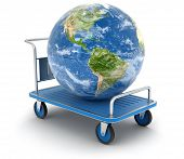stock photo of earth-mover  - Handtruck with Globe - JPG