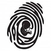 stock photo of fetus  - black finger print with fetus - JPG