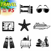 stock photo of bunk-bed  - Vector collection of symbols for tourism and vacation - JPG