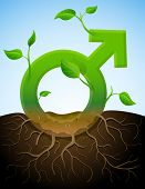 stock photo of bine  - Stylized plant in shape of man sign in ground - JPG