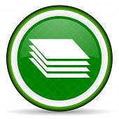 stock photo of gage  - layers green icon gages sign  - JPG