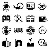 pic of shipping receiving  - set of 16 logistic and shipping icons - JPG