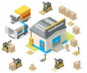 picture of building exterior  - Vector isometric warehouse building icon - JPG