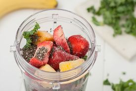 stock photo of fruit shake  - homemade healthy smoothie ingredients - JPG