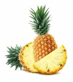 stock photo of packages  - Pineapple behind and pieces isolated on white background as package and poster design element - JPG
