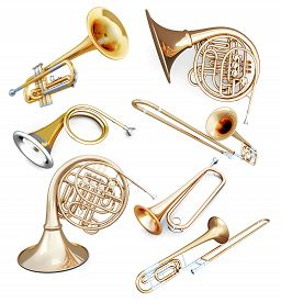 picture of wind instrument  - Set of wind instruments isolated on white background - JPG