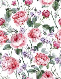 picture of english rose  - Classical vintage floral seamless pattern - JPG
