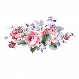 foto of english rose  - Classical vintage floral greeting card - JPG