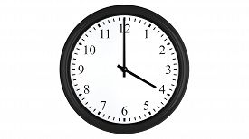 picture of analog clock  - Realistic 3D render of a wall clock set at 4 o - JPG