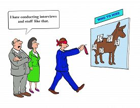 stock photo of conduction  - Business cartoon showing blindfolded man playing pin the tail on the donkey  - JPG