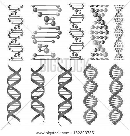 poster of DNA or RNA helix vector isolated icons. Symbols of chromosome cell molecule, molecular chain of human genes or genome for genetics medical concept design or scientific research laboratory