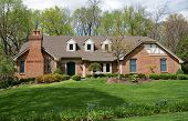Grand Brick Home with Landscaped Lawn poster