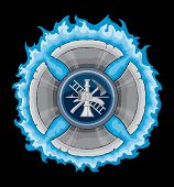 picture of maltese-cross  - Illustration of a firefighter tools in a blue flaming maltese cross made with axe blades. Vector format is easily edited or separated for print and screen print. - JPG