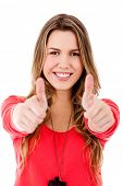 picture of thumbs-up  - Woman with thumbs up  - JPG