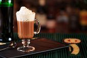 Irish Coffee In A Bar. Concept Of St Patrick Holiday. Holiday Background poster