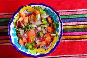 Pico de gallo tomato and chili Mexican sauce serape tablecloth