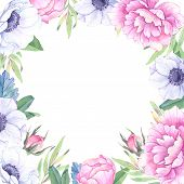 Watercolor Illustration. Floral Frame With Spring Flowers. Wedding Invitation/greeting Card With Lea poster
