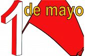 Red Flag Of May Day In Spain