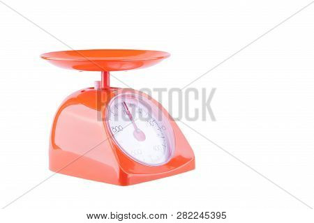 Toolsbakeryweighing Scalesscalesorangeredscalekitchenweightisolatedwhitebalancefoodback