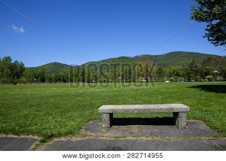 A Stone Bench In Battlefield