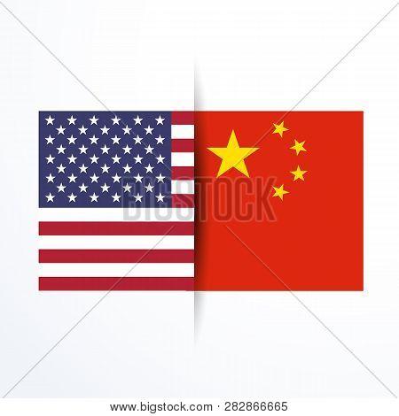 Flag Of Usa And China
