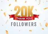 Thank You 20000 Followers Design Template Social Network Number Anniversary. Social 2k Users Golden  poster