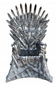 Swords Vintage Throne Isolated On White Background. poster