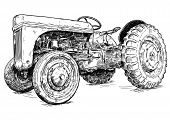 Old Vintage Tractor Vector Pen And Ink Illustration. Tractor Was Made In Dearborn, Michigan, United  poster