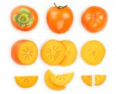 Persimmon Fruit Isolated On White Background. Top View. Flat Lay Pattern. Set Or Collection poster