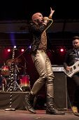 CLARK, NJ - SEPT 17: Lead singer Tyler Glenn of the band Neon Trees performs at the Union County Mus