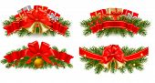 picture of polly  - Set of holiday christmas garlands with red ribbons - JPG