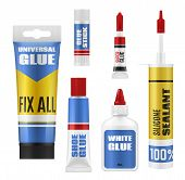 Glue Stick, Tube And Bottle Packages Vector Mockup. Super Glue, Shoes Repair And Universal Adhesives poster