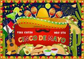Cinco De Mayo Greeting And Fiesta Fireworks In Bunting Flags Frame. Vector Cinco De Mayo Mexican Hol poster