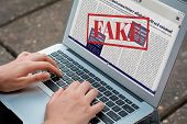 Closeup Of Young Woman Reading Digital Fake News On Laptop. Propaganda And Disinformation Online. Me poster