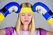 Girl Painful Face Embrace Head With Boxing Gloves. Headache Remedies. Headache Concept. Keep Calm An poster