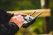 Hand Holding Drone Quadcopter Uav Remote Control Console Controls. poster