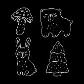Cute Cartoon Hand Drawn Forest Animals Drawing Set. Sweet Vector Black And White Forest Animals Draw poster