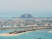 View On Residential Buildings On Palm Jumeirah Island. The Palm Jumeirah Is An Artificial Archipelag poster