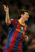 BARCELONA - DEC 12: Leo Messi of Barcelona celebrates goal during a Spanish League match between FC