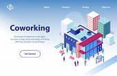 Commercial Real Estate Object Isometric Vector Web Banner Or Landing Page Template With Business Peo poster
