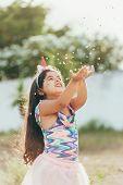 Brazilian Carnival. Little Girl In Costume Enjoying The Carnival Party poster